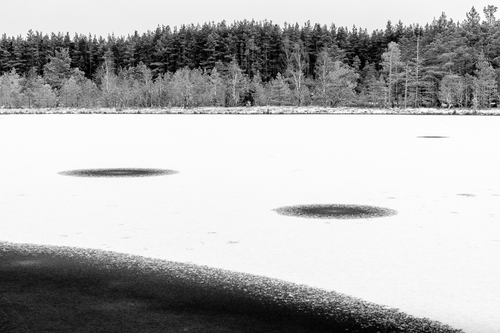 This photo and the one below were taken to facilitate a discussion on composition. Students will often be familiar with 'the rules' (thirds, leading lines and all that) but are often less sure how to play with or against them in the field. When the lochans are under ice, there's more opportunities to work with curves, but even so, the pictures don't take themselves. We have to move ourselves and the camera.  Teaching is about helping others to articulate what they 'see' and then make it happen on the ground.