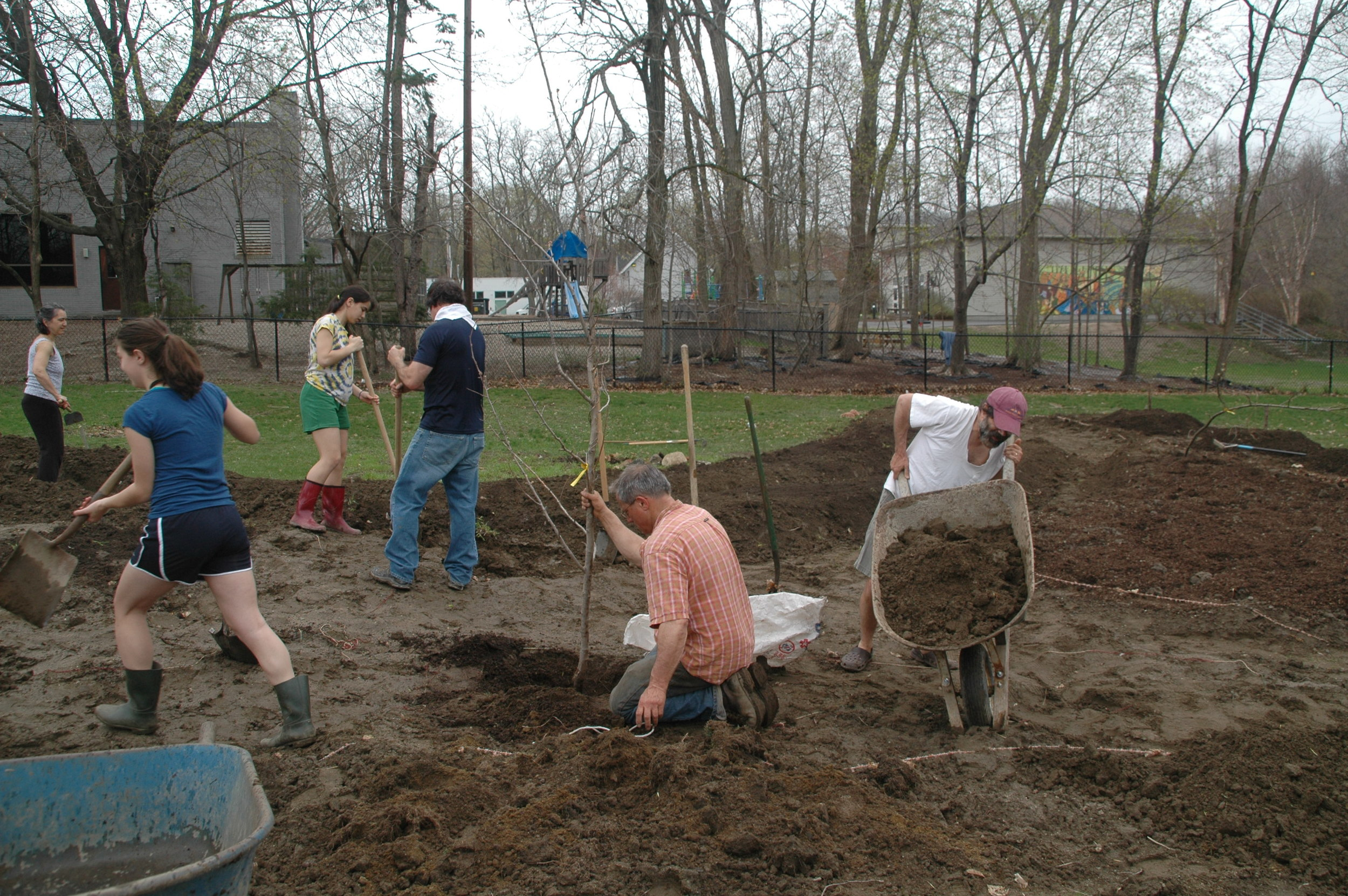 The initial CBI Garden being established in 2011 by community parents and teens