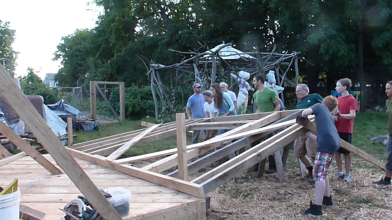 "Our community ""shed-raising"" in spring 2014 led by master craftsmanemmett leader"