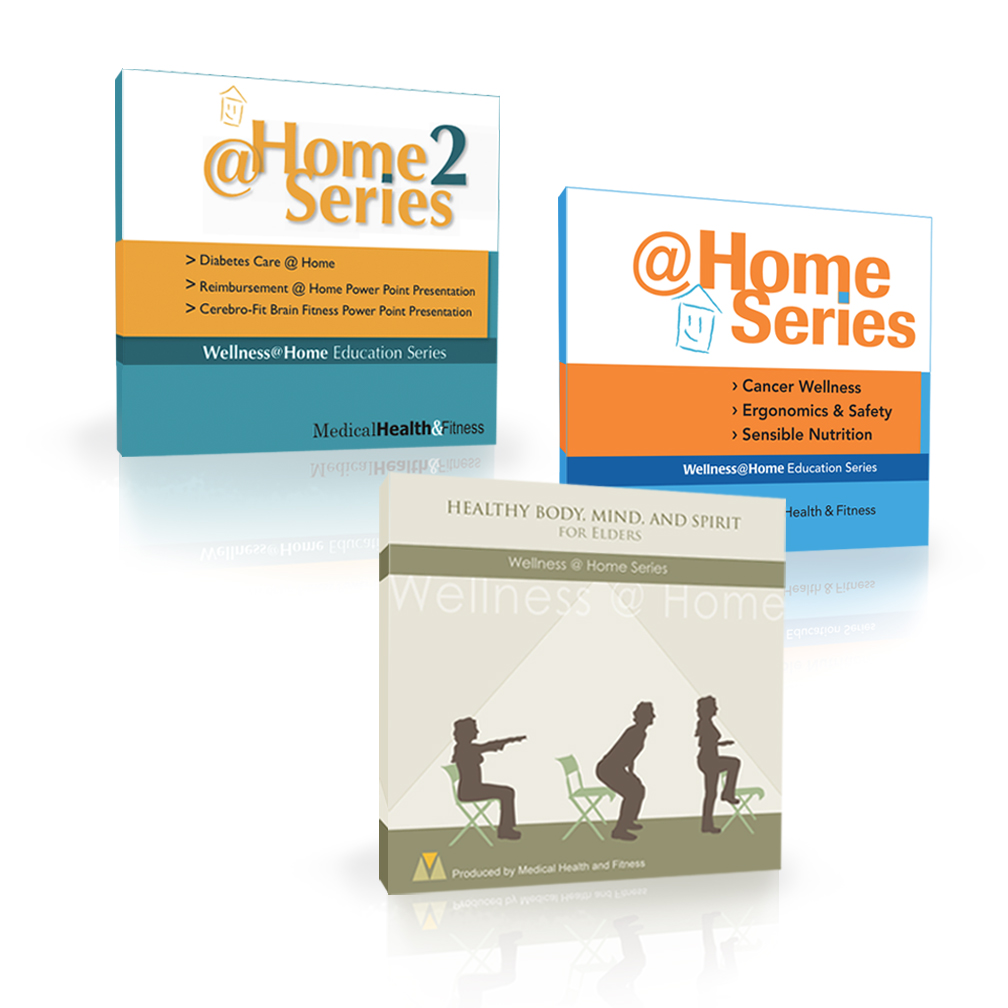The  @Home  Certification Series instructs the fitness/home care professional how to safely guide the elderly in movement and simple exercises. Now bundled with  Healthy Body, MInd and Spirit  CD.