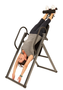 Inversion machine - 2-4 minutes maximum hang for each session - twice a day - 4-7 days per week. You can also perform trunk twists on the inversion machine, and neck decompressions (pull down on the neck while in neutral position). Lastly - advanced level crunches can be performed on the inversion machine in locked position (or with inversion boots on a stationary bar).