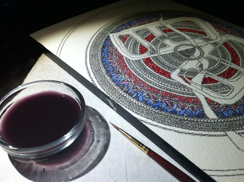 A detail of a painting in progress... a night of watercolors