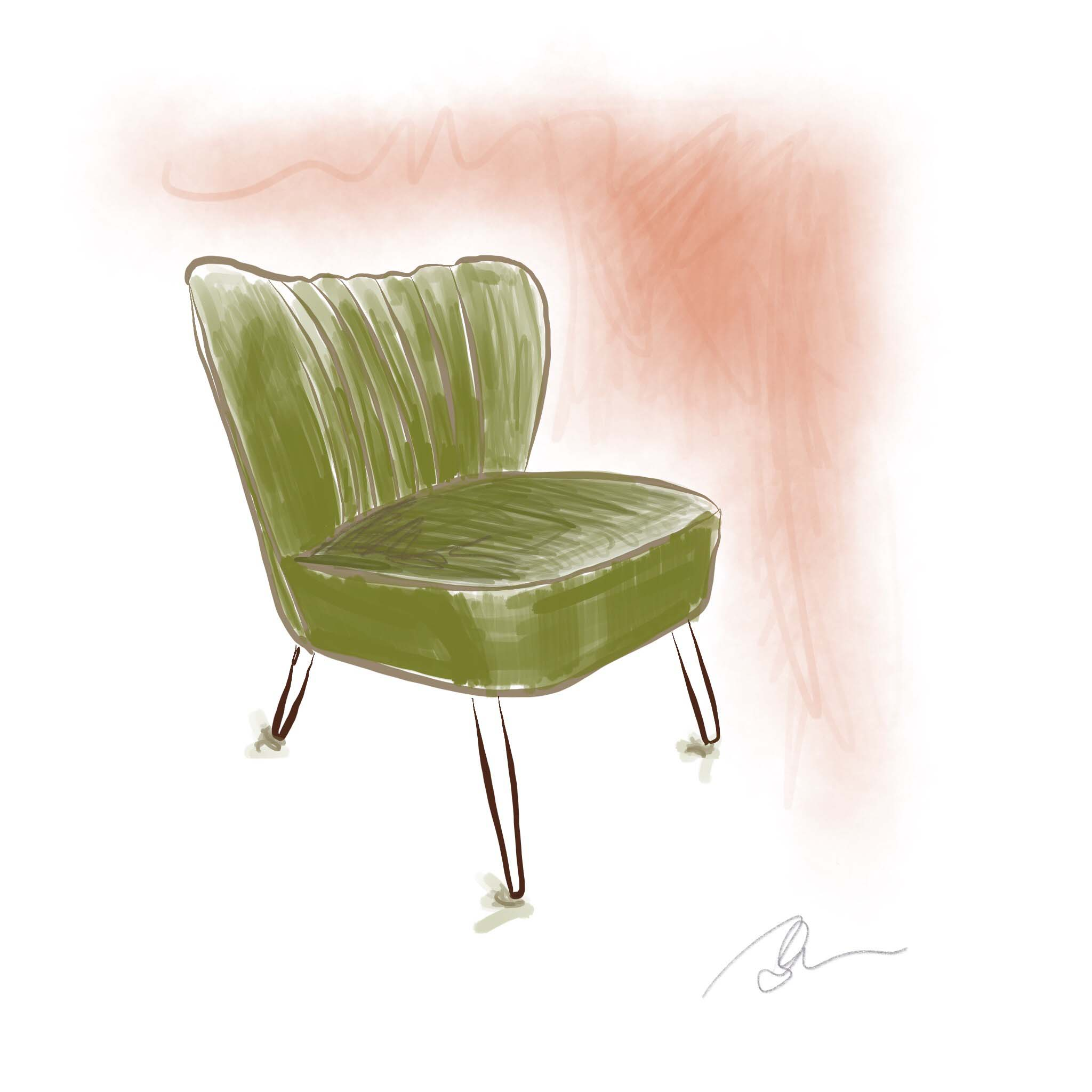1950's Parisian Cocktail Chair ~ Digital Art ©Beth Ortman