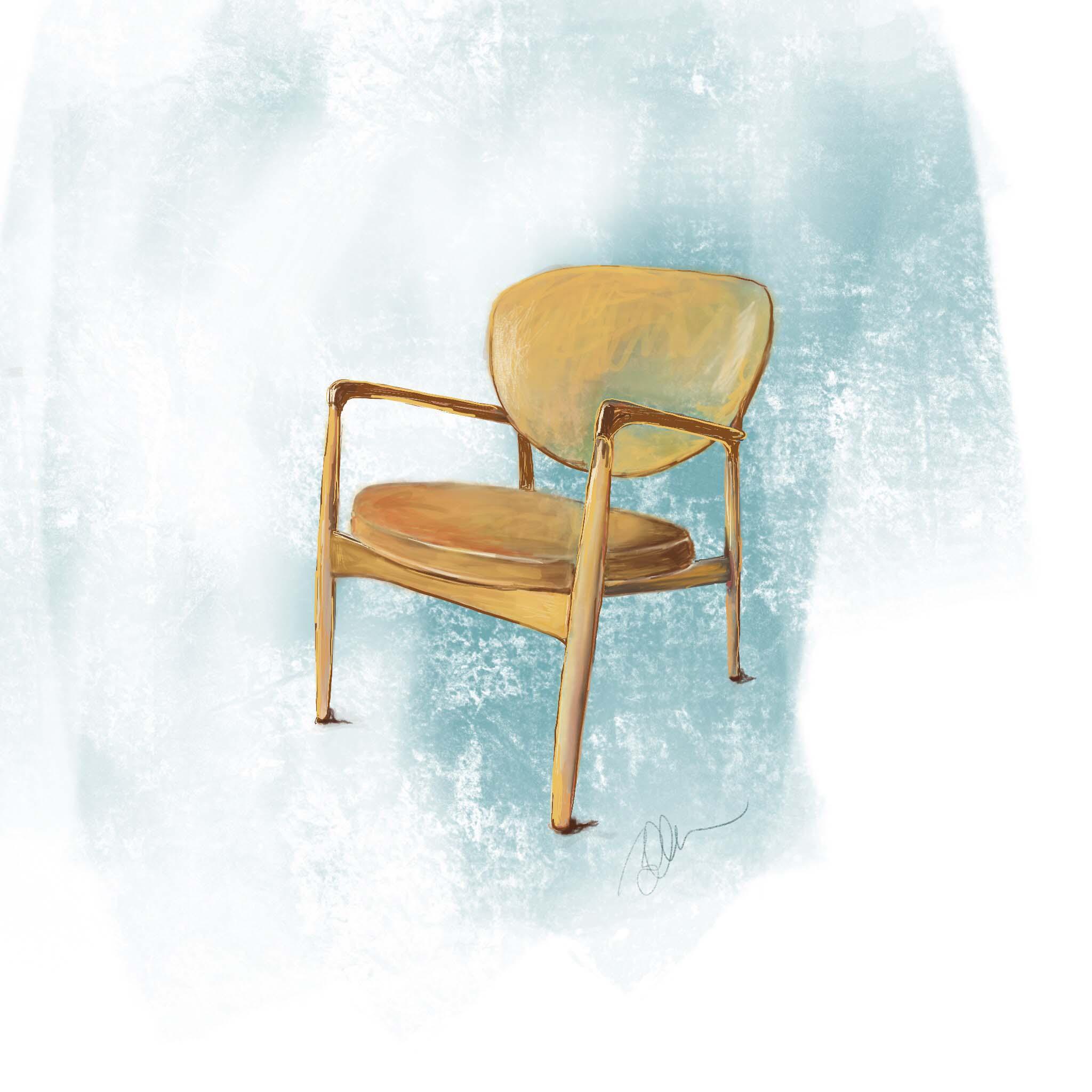 Danish designer Ib Kofod-Larsen, armchair ~ Digital Art ©Beth Ortman