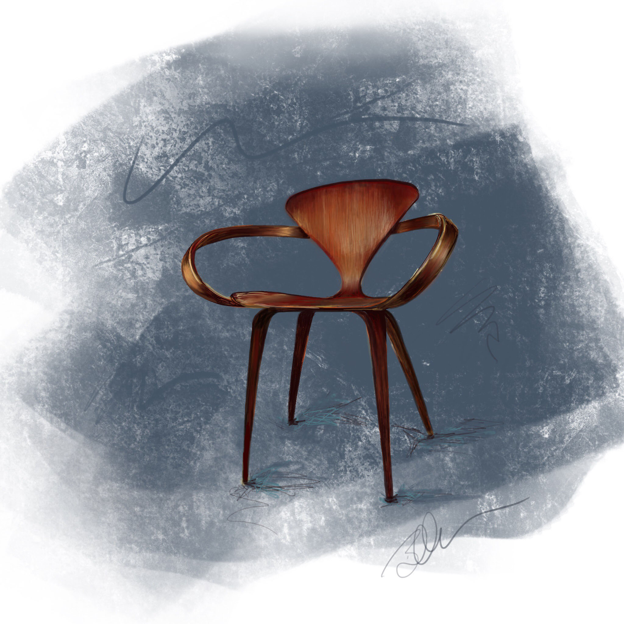 "Digital Drawing of the 1950's ""Pretzel Chair"" designed by Norman Cherner  ~ ©Beth Ortman"
