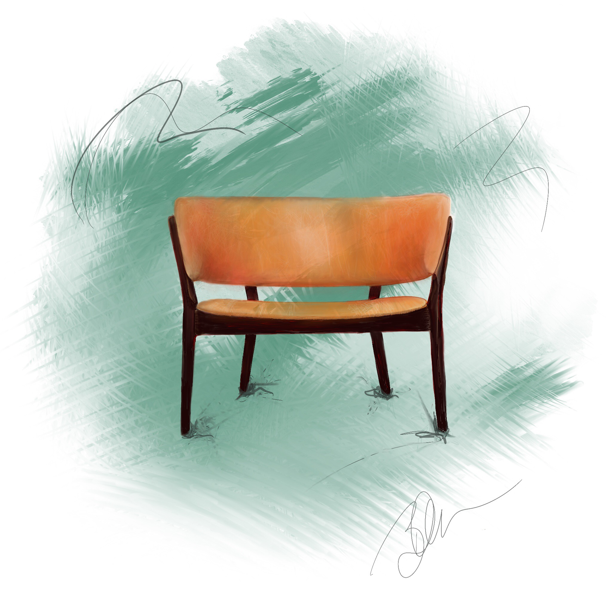 MCM Chair Digital Drawing ©Beth Ortman