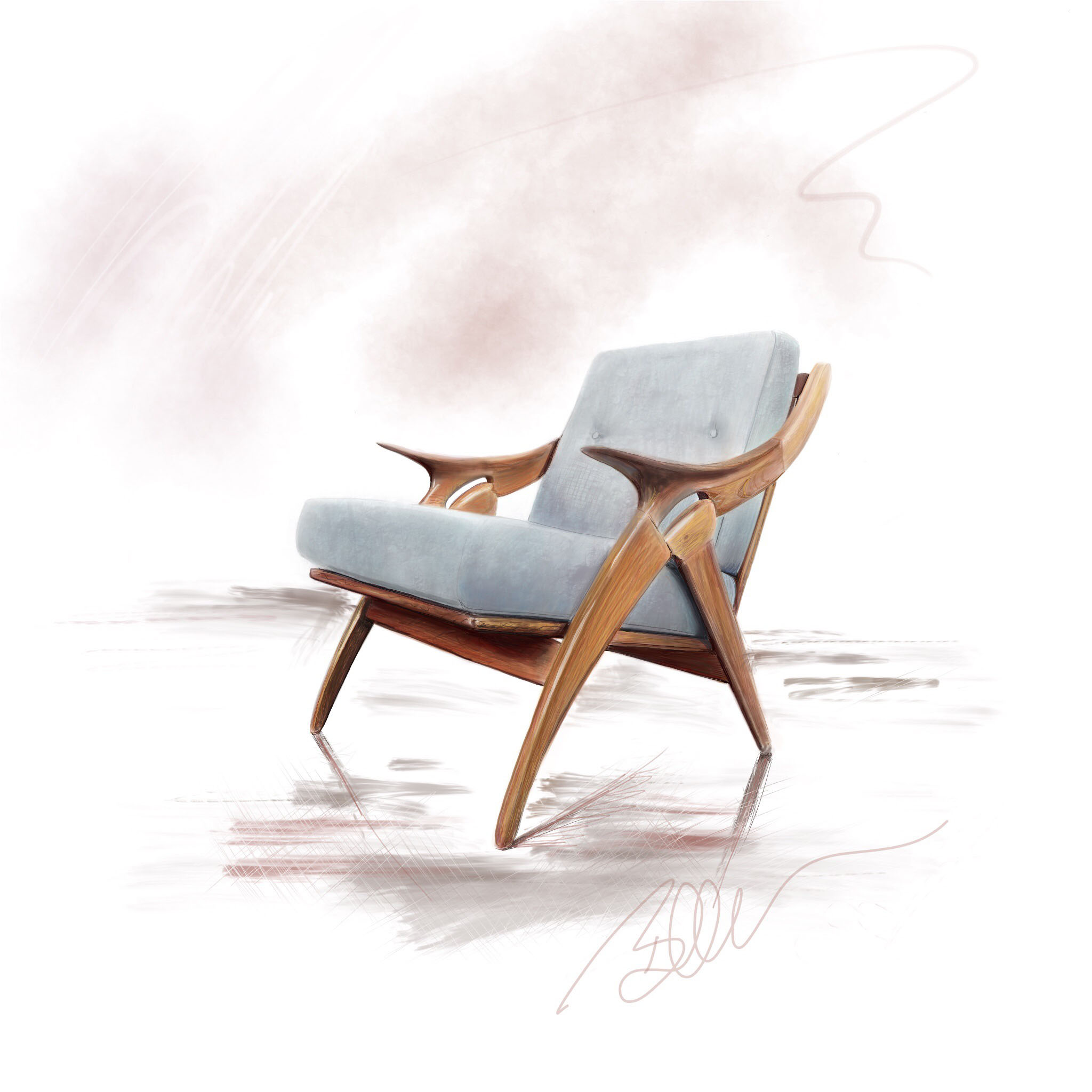 Mid-Century Modern Chair Digital Drawing ©Beth Ortman