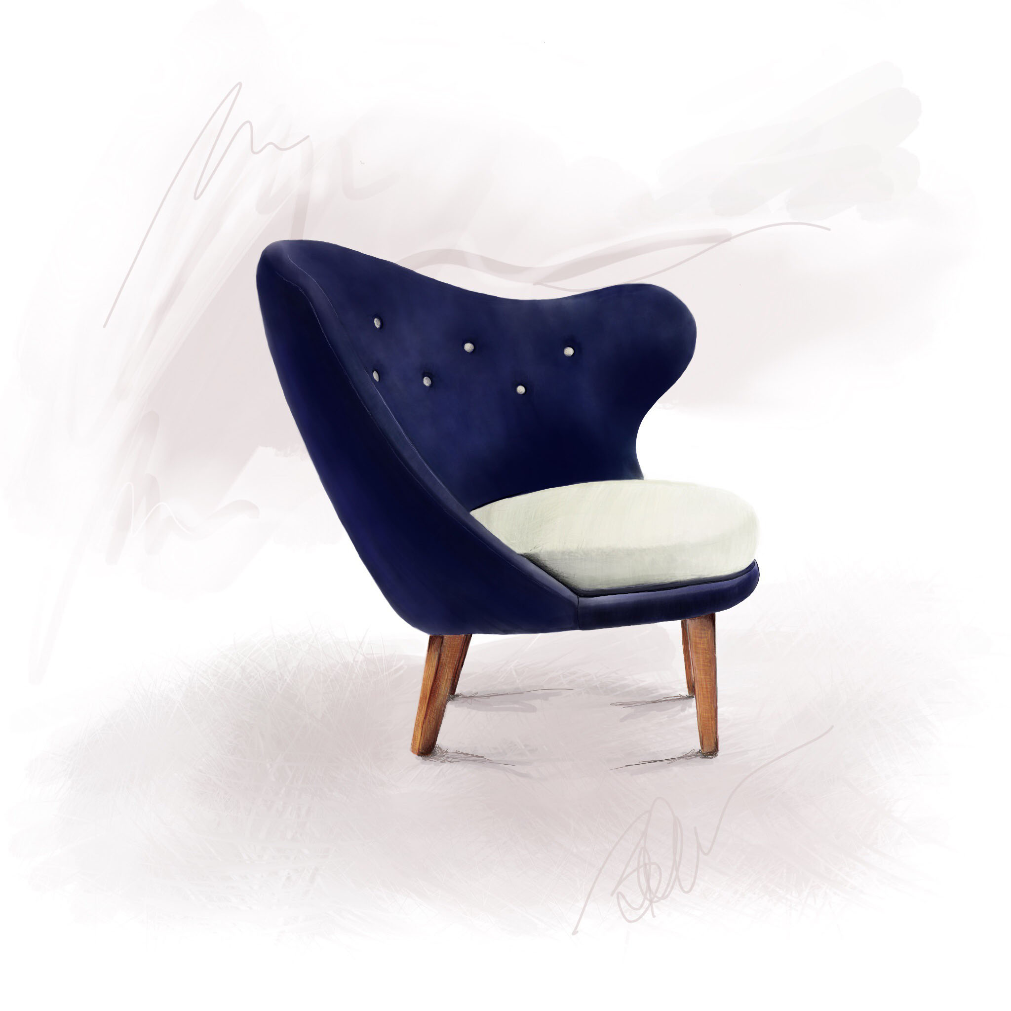 Digital sketch of a circa 1940's Mid-Century 'Thumb Chair' by Arne Norell