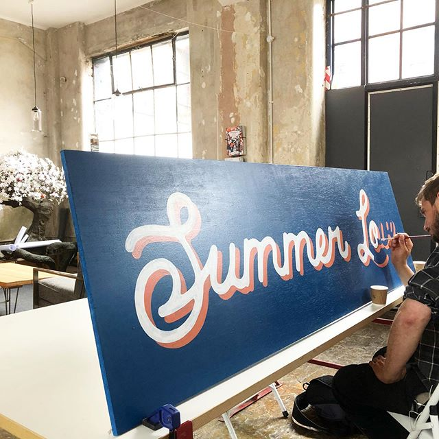 WIP for Everyman's FREE pop up cinema in Granary Square. We'll be installing next week and then it opens on Friday so make sure you pay it a visit! #signpainting #summerlove #everymancinema #breadcollective #alwayshandpaint #handpainted #popupcinema #kingscross #granarysquare #wimbledon
