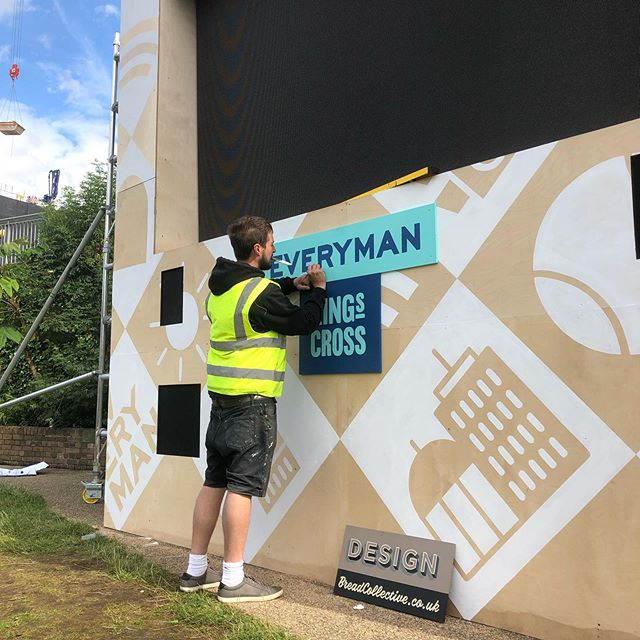 Last week we battled the elements and installed the pop-up cinema in Granary Square for Everyman. It's there for the next month so go check it out! #breadcollective #alwayshandpaint #handpainted everymancinemas #popupcinema #kingscross #granarysquare #films #wimbledon