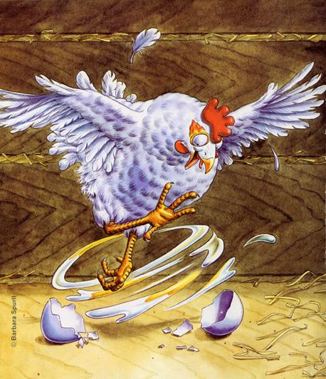 Hen Beating Egg