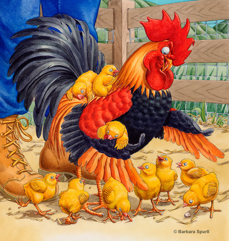 Rooster with Chicks