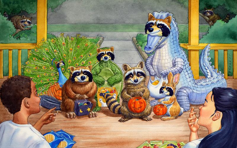 Halloween Raccoons