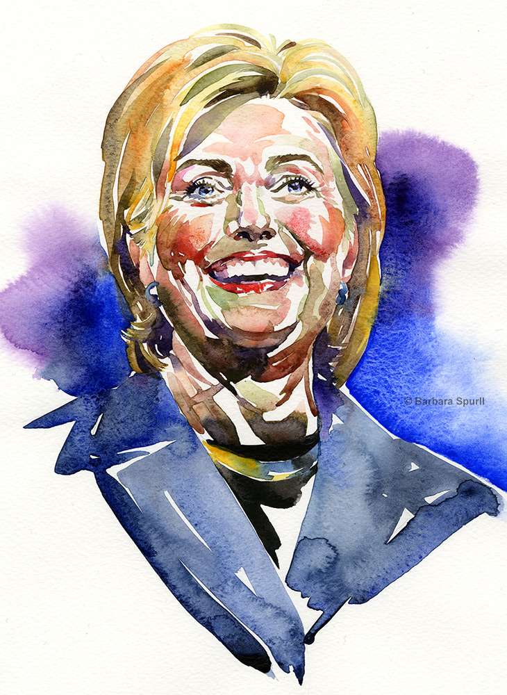 Watercolour portrait of Hillary Clinton by Barbara Spurll