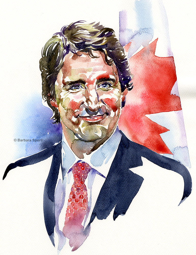 Watercolour portrait 11 x 15 inches, Justin Trudeau by Barbara Spurll