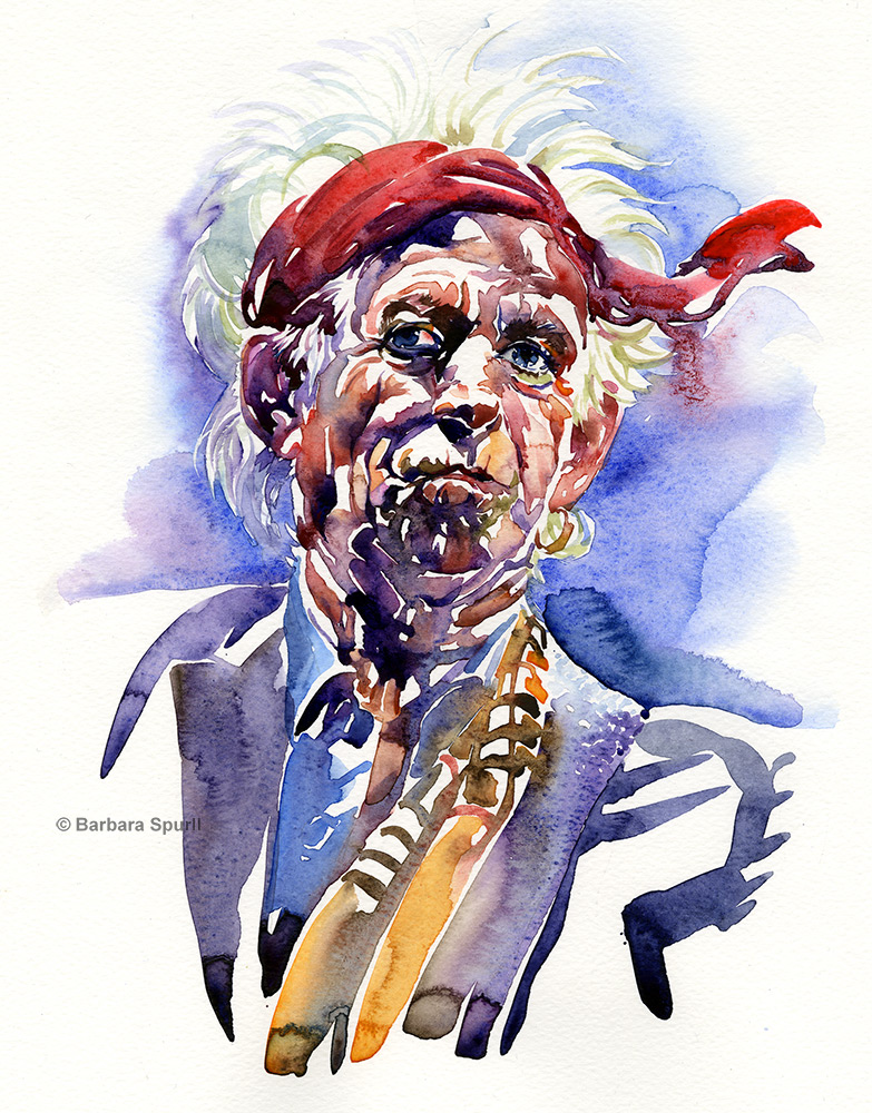 Watercolour portrait of Keith Richards by Barbara Spurll