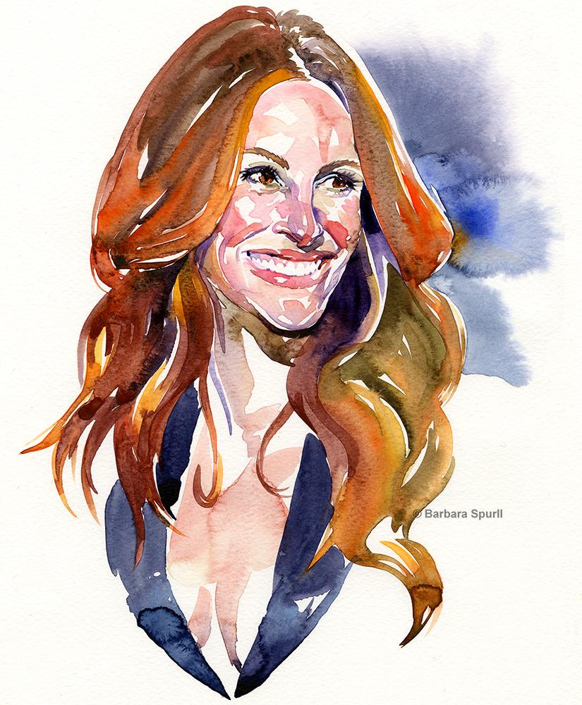 Watercolour portrait of Julia Roberts by Barbara Spurll