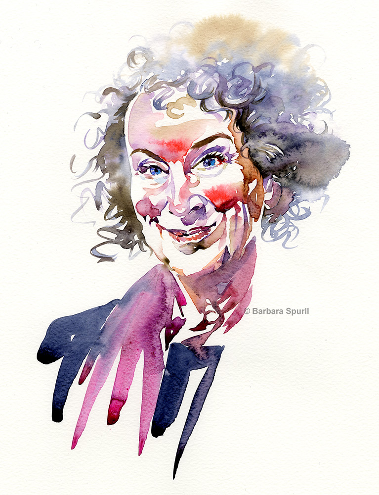 Watercolour portrait of Margaret Atwood by Barbara Spurll
