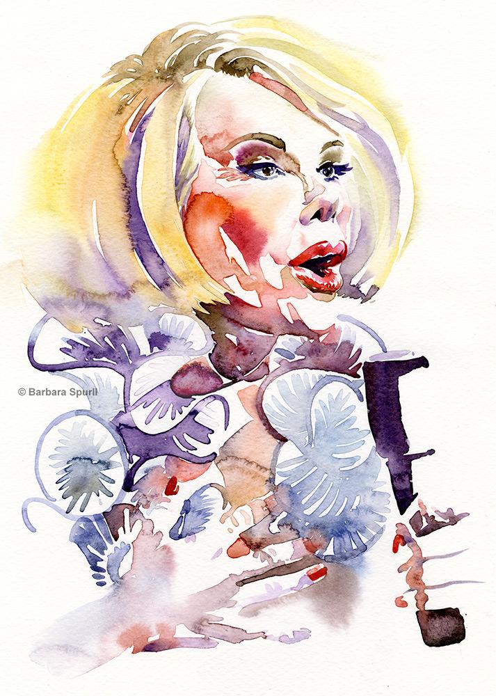 Joan Rivers, watercolour portrait by Barbara Spurll