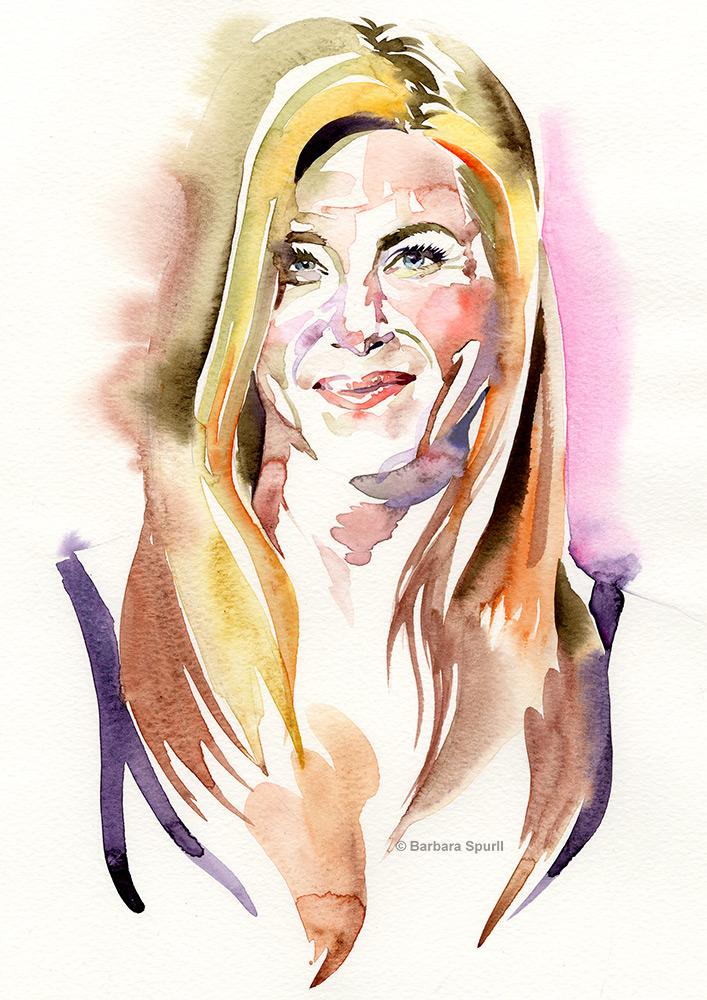 Watercolour portrait of Jennifer Aniston by Barbara Spurll