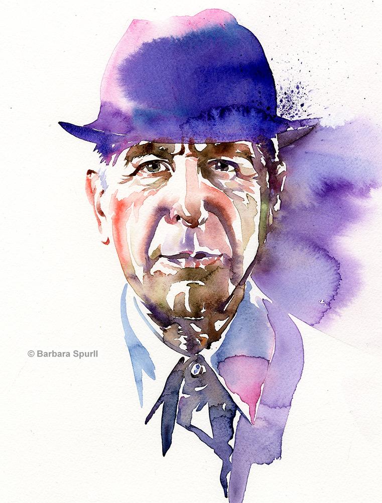 Watercolour portrait of Leonard Cohen by Barbara Spurll
