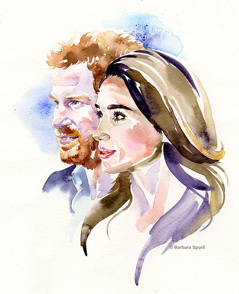Harry and Meghan watercolour portrait by Barbara Spurll