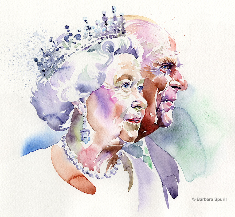 Elizabeth II and Prince Phillip watercolour portrait
