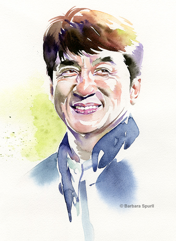 watercolour portrait of Jackie Chan
