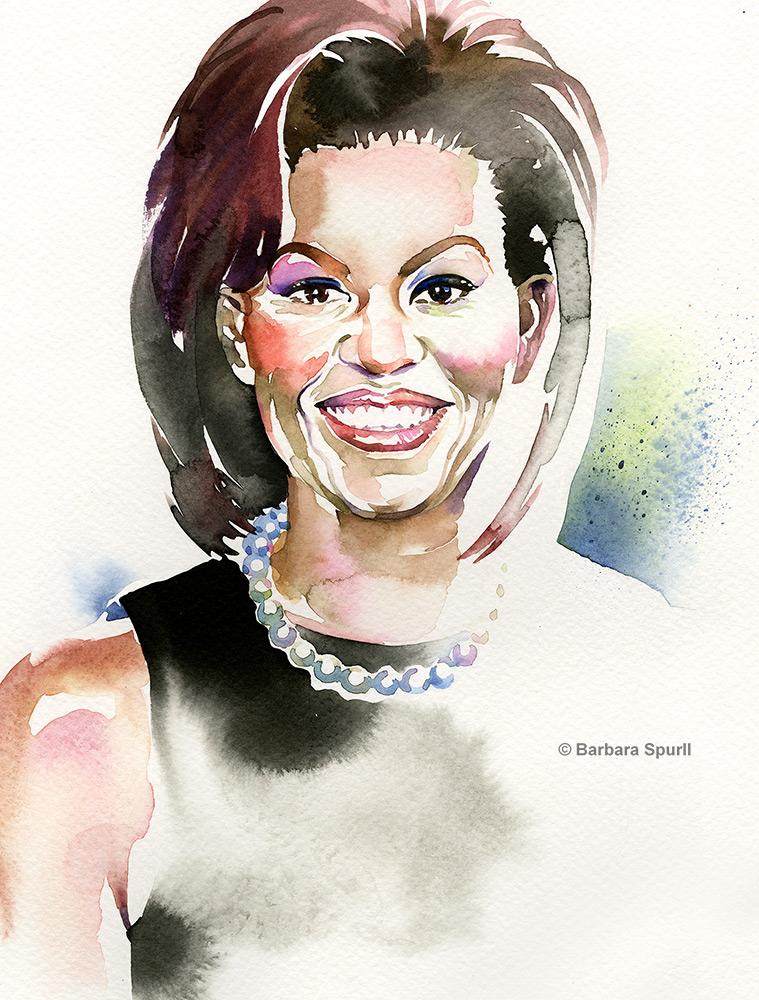 Watercolour portrait of Michelle Obama by Barbara Spurll