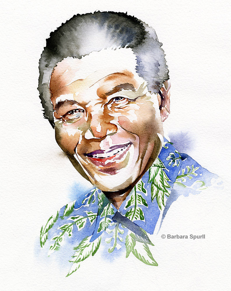 Nelson Mandela portrait by Barbara Spurll