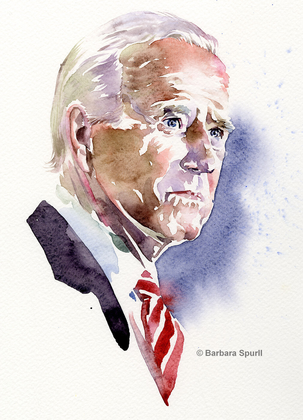 Watercolour portrait of Joe Biden by Barbara Spurll