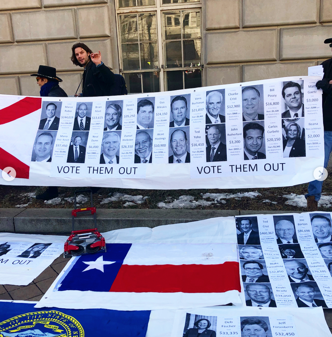 The 3rd interview with the man who designed this large infomrative art installation about which of our elected representatives have taken NRA money