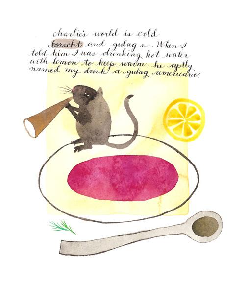 Gulag Americano,watercolor and ink on paper,Golly Bard | Holly Ward Bimba © all rights reserved