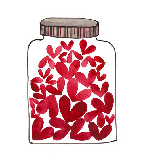 Jar of Love No. 42,watercolor on paper,Golly Bard | Holly Ward Bimba© all rights reserved
