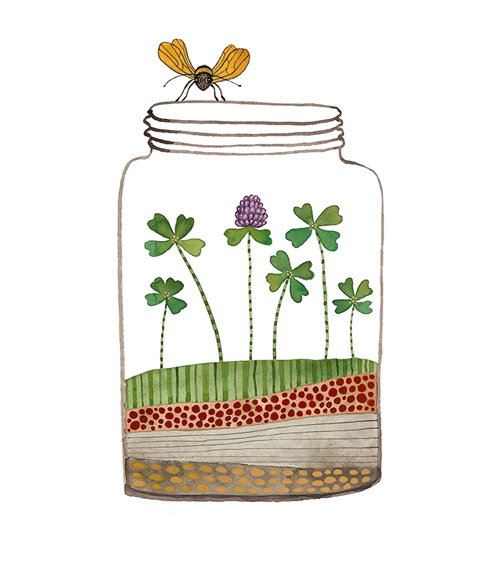 Jar of Luck, watercolor on paper, Golly Bard | Holly Ward Bimba  © all rights reserved
