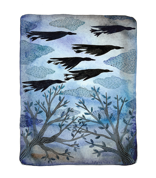 Midnight in the Garden, Geese,  watercolor on paper, Golly Bard | Holly Ward Bimba   © all rights reserved