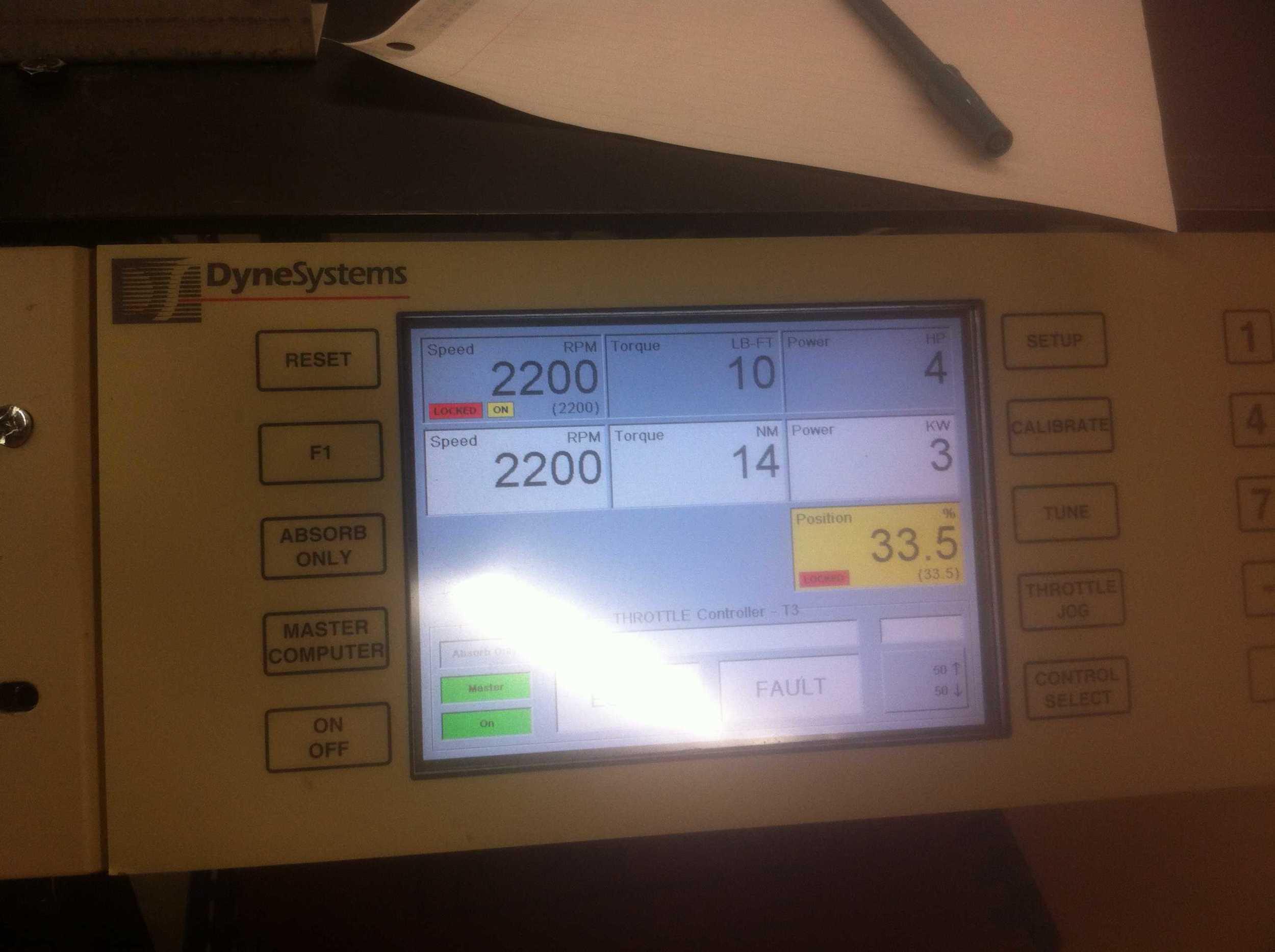 Dyno controller screen.