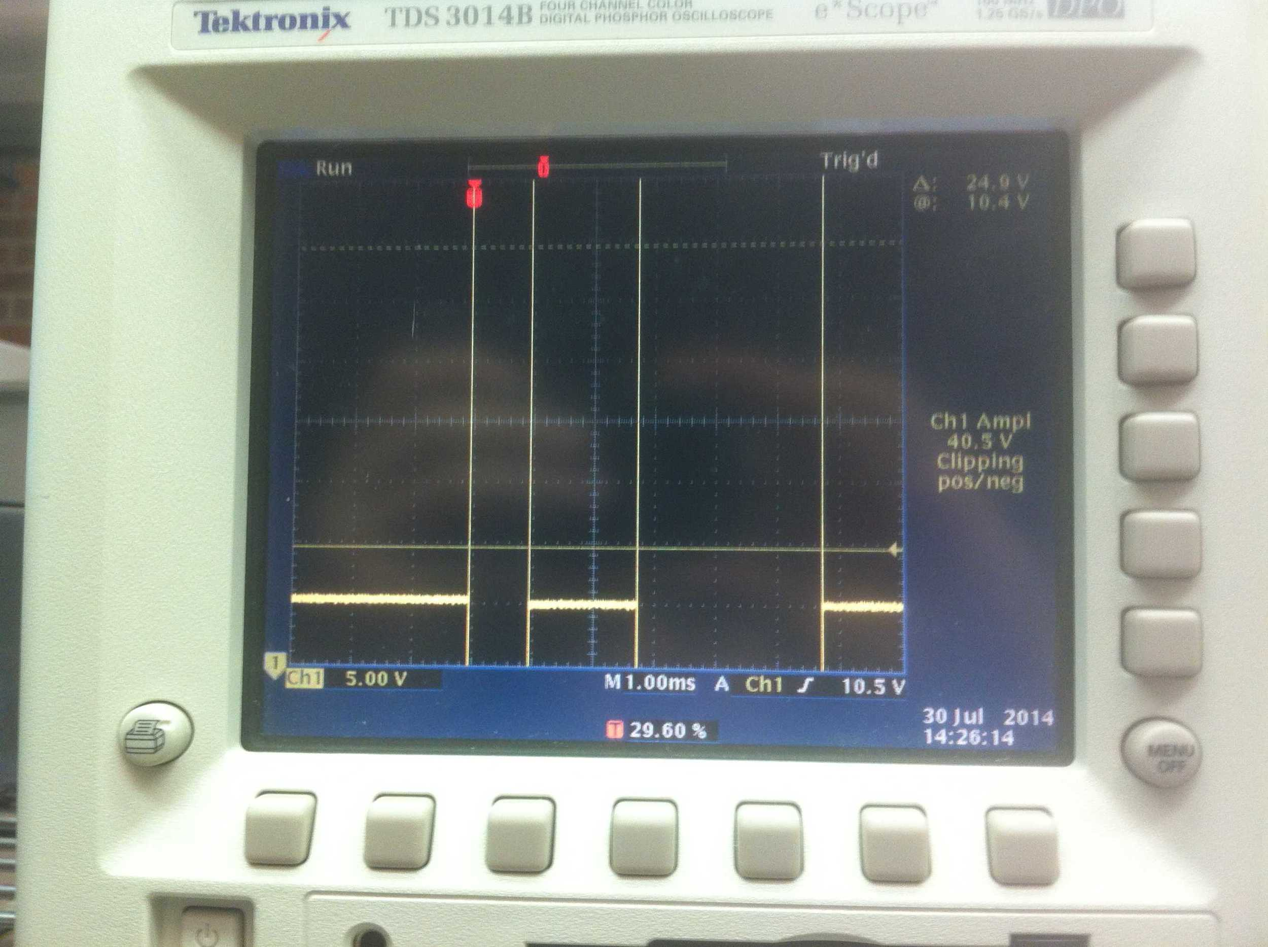 Injection signal from RP showing two different pulses.