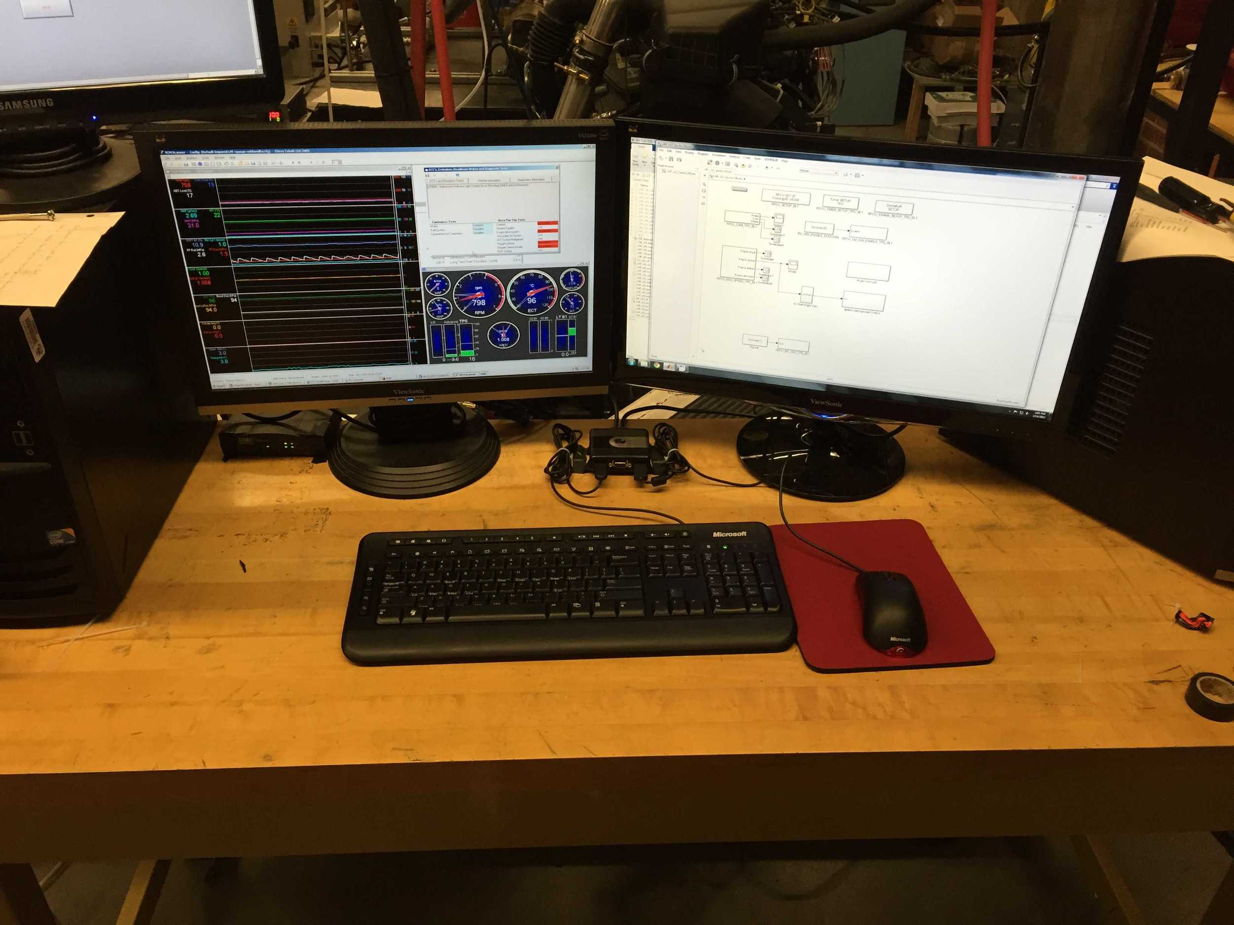 Final desk setup. One keyboard and mouse controls both computers.