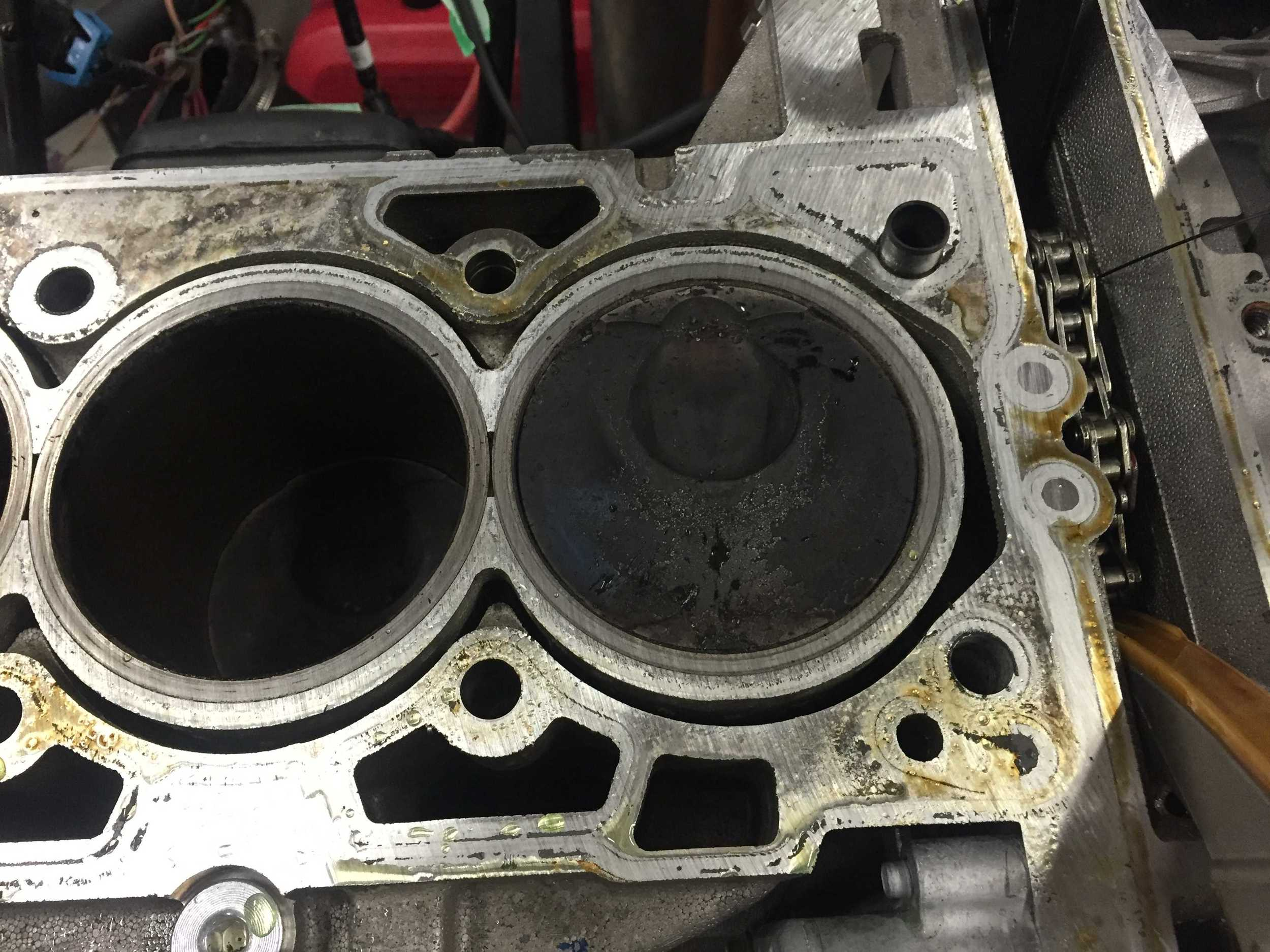 Cylinder head removed showing piston head.