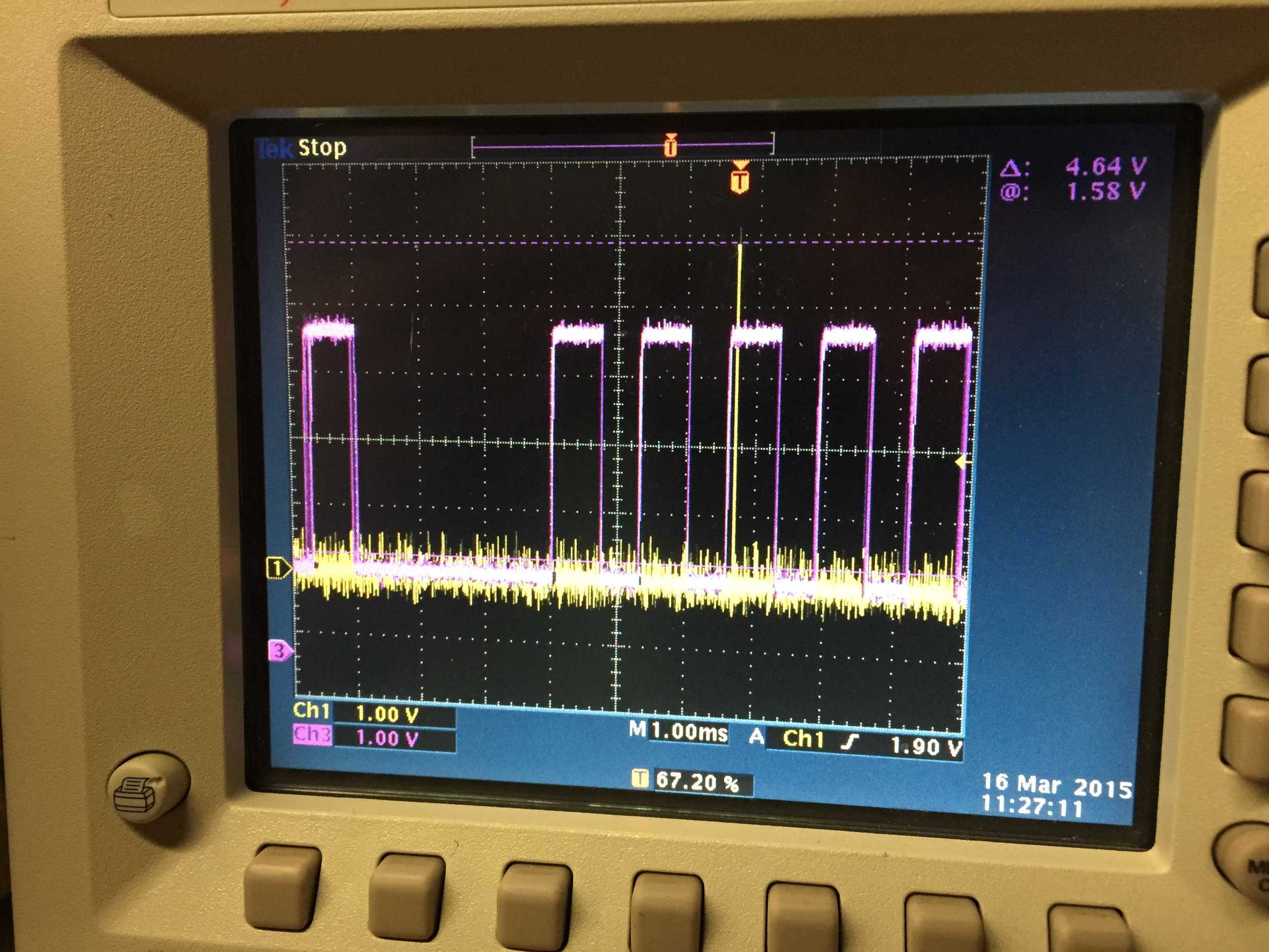 showing encoder Z signal (happens once per revolution in yellow) with engine 60 tooth crank encoder (pink).
