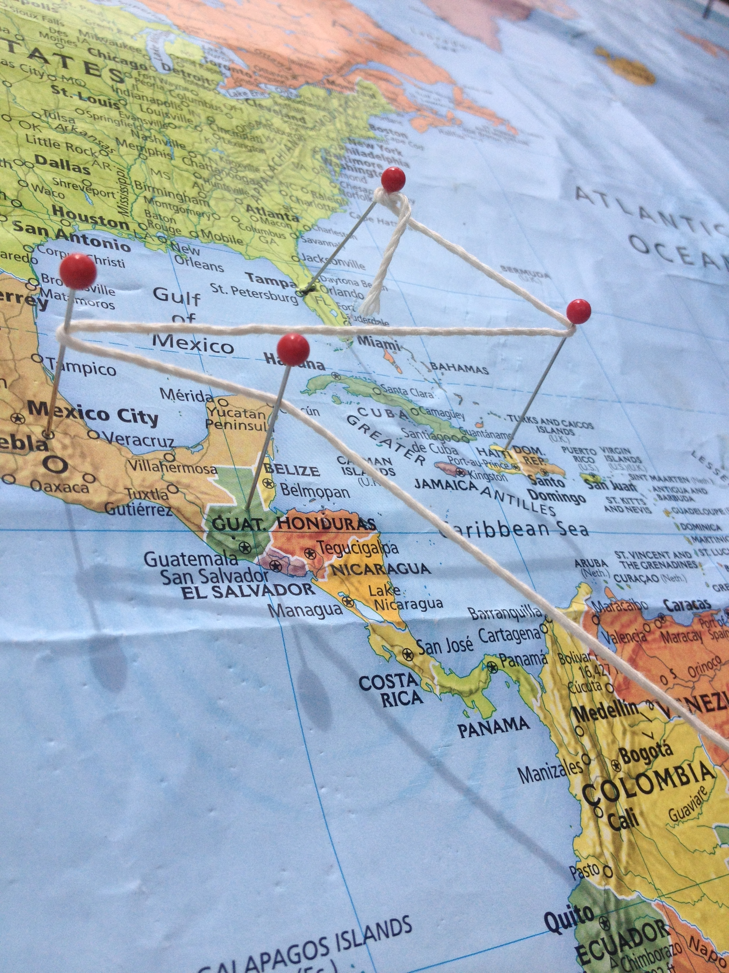 Pins on a Map depicting Connect Global's Past, Present, and Future Trips. 2013