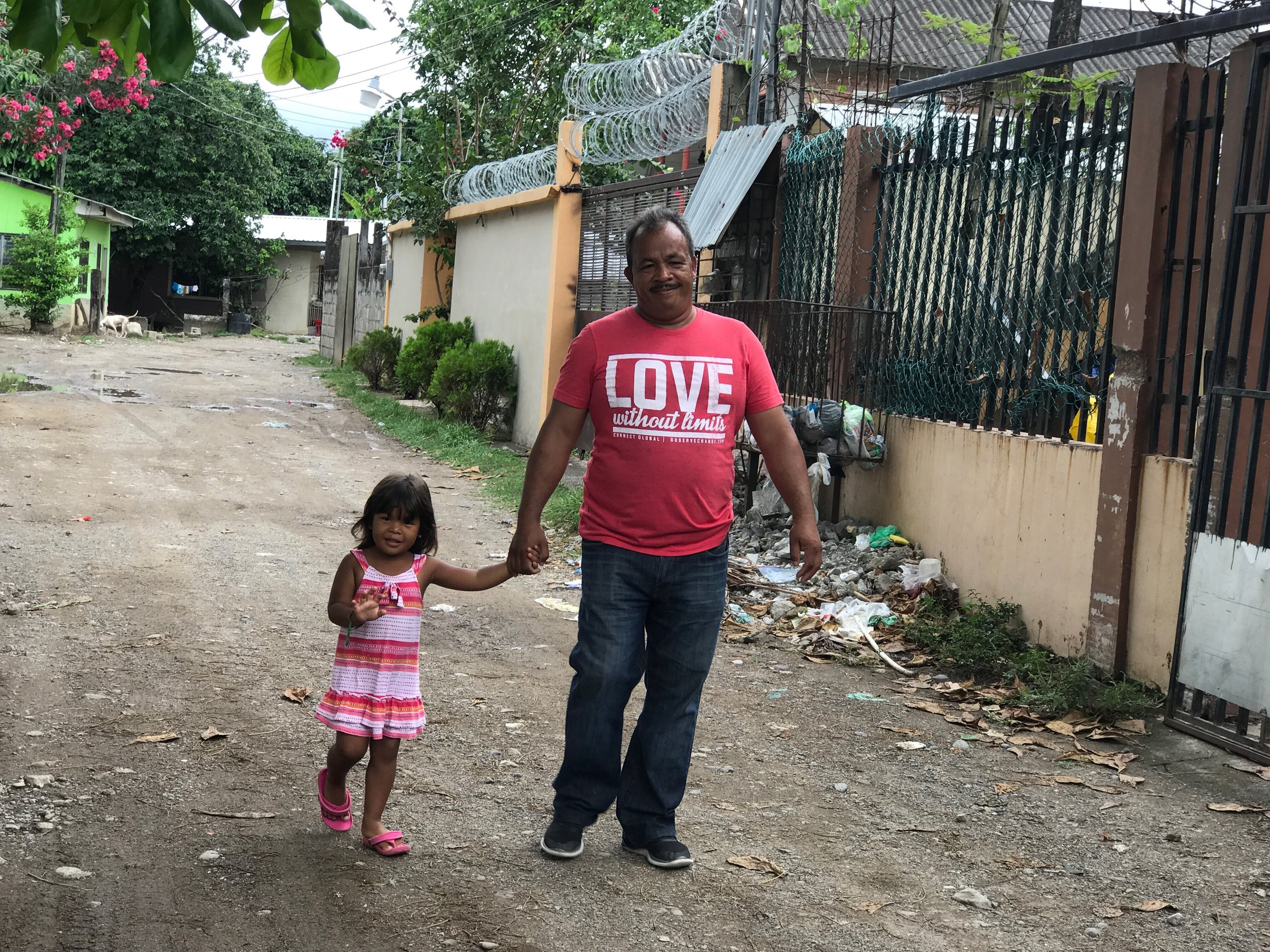 Jorge Amador, National Director in Honduras for Connect Global, with his daughter Alison in La Ceiba, Honduras.