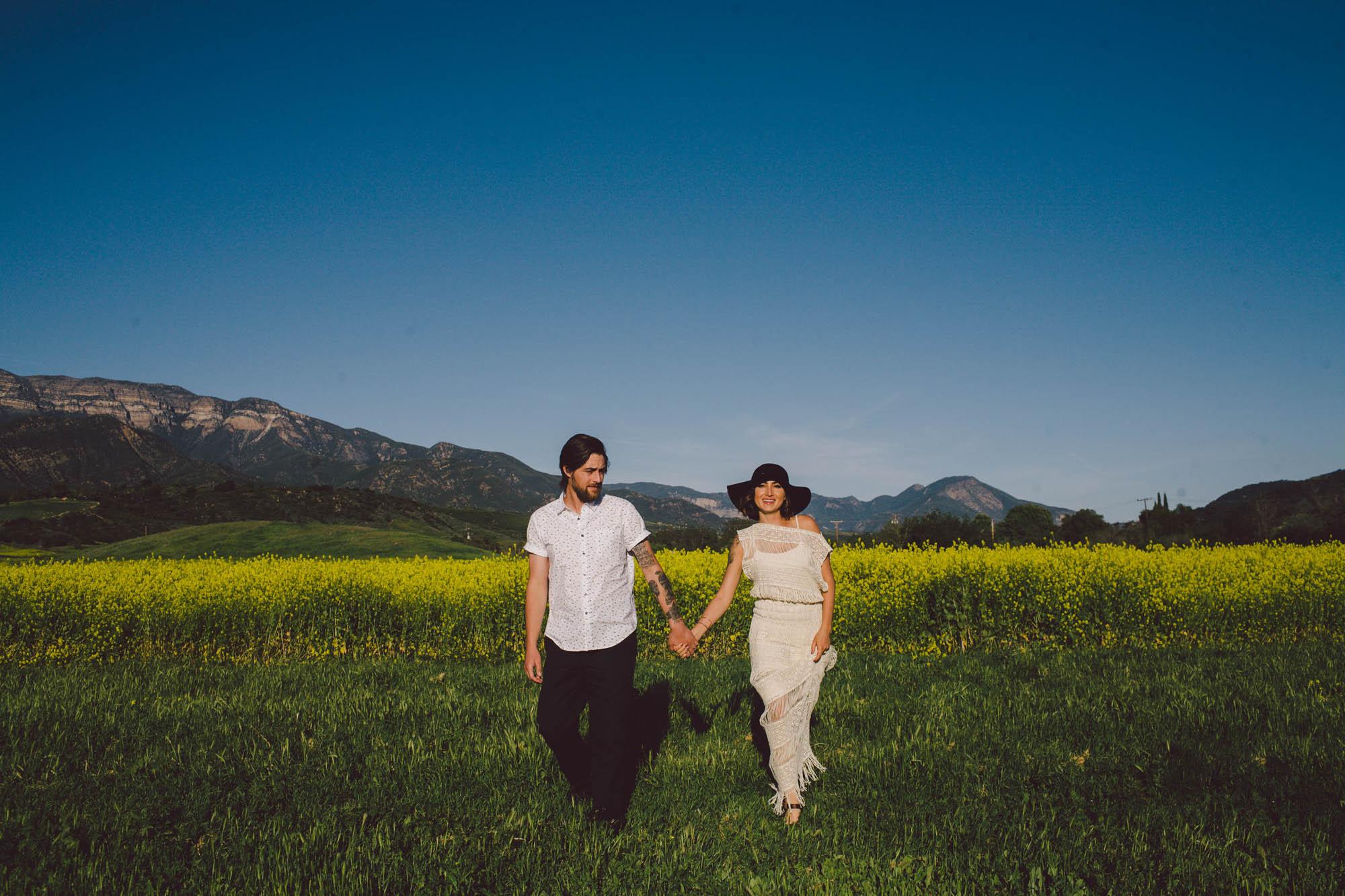 Ojai elopement bride wild flowers engagement shoot