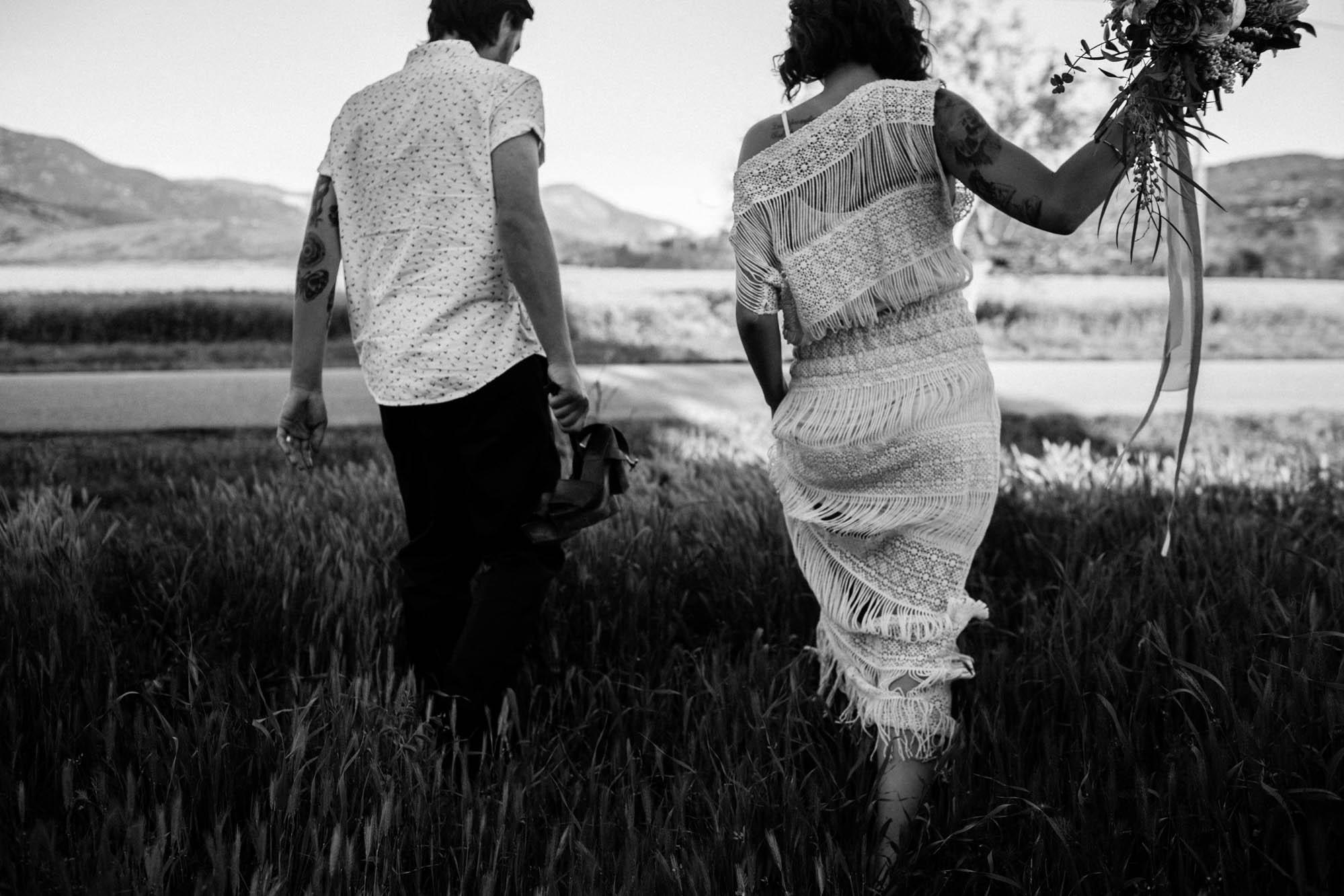Ojai elopement boho bride wild flowers engagement shoot