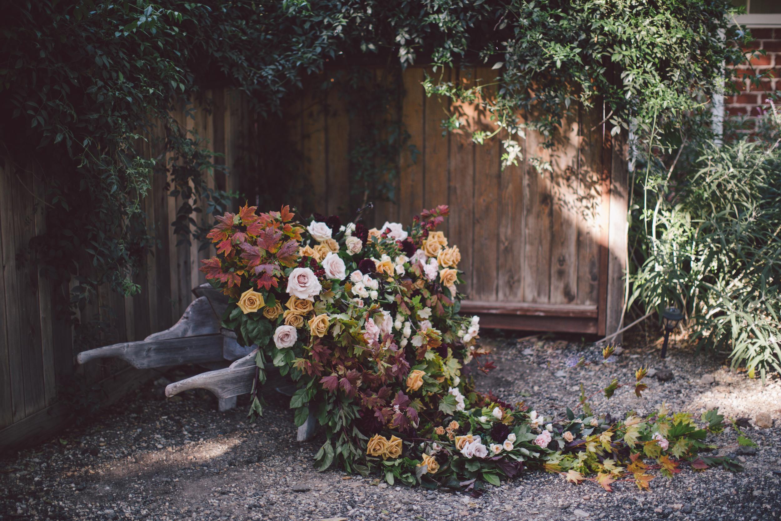 stonewall-ranch-malibu-boho-wedding-floral wheelbarrow
