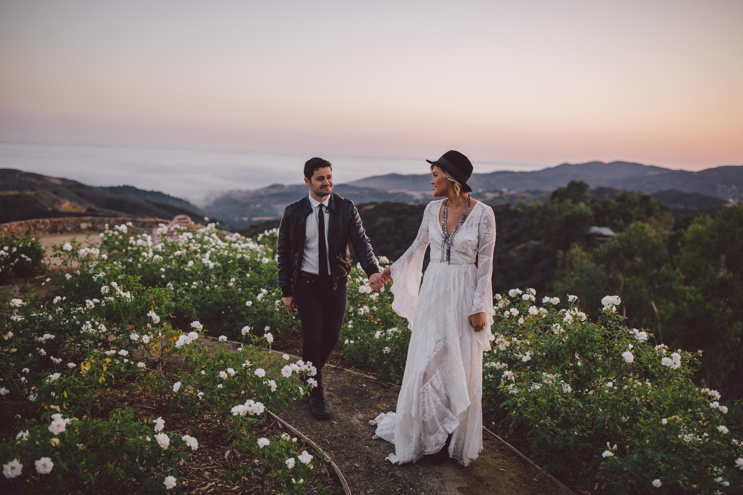 stonewall ranch-sunset-malibu-wedding-portraits-freepeople-bride-leather jacket