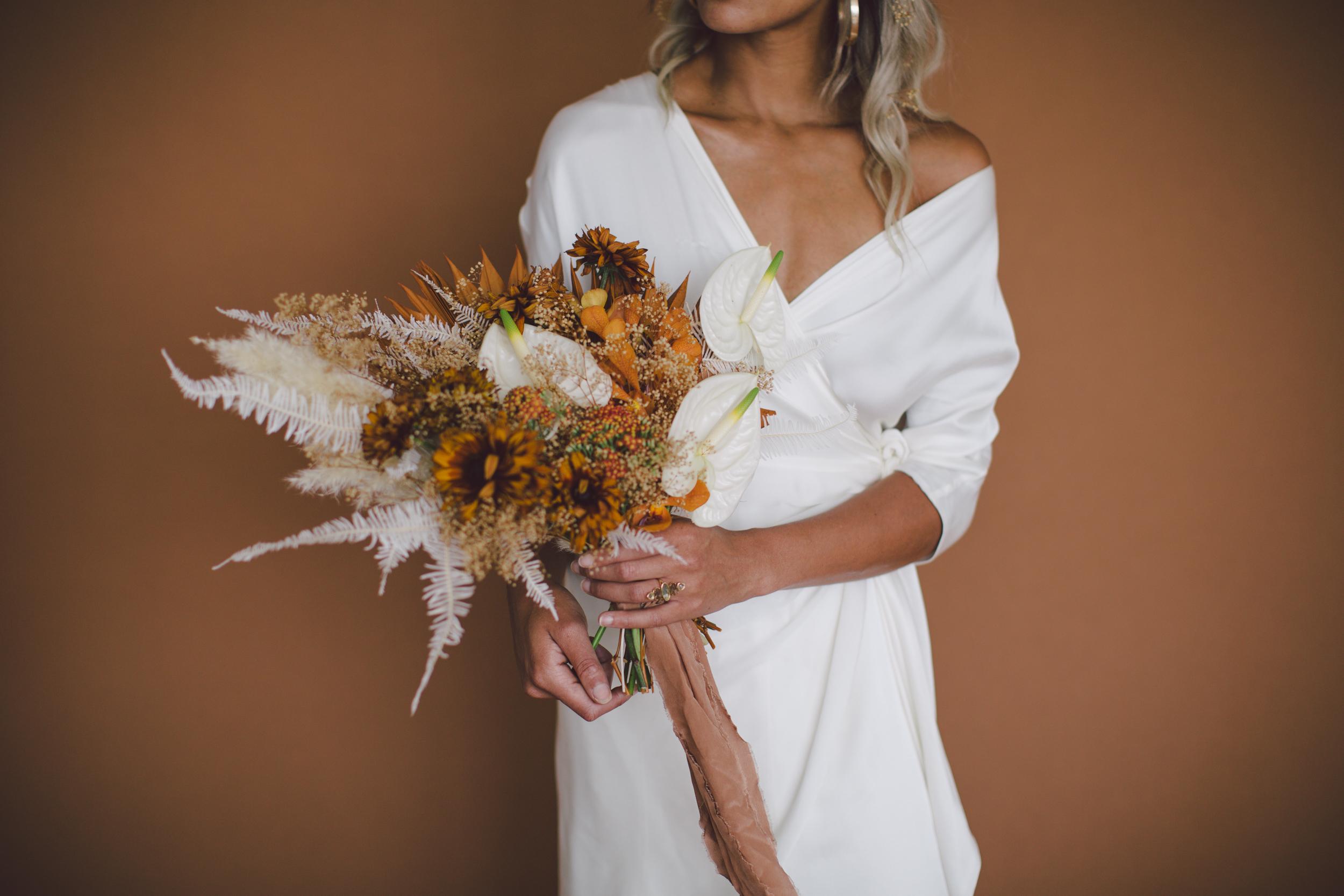 boho dried flower bouquet fall sienna african american bride