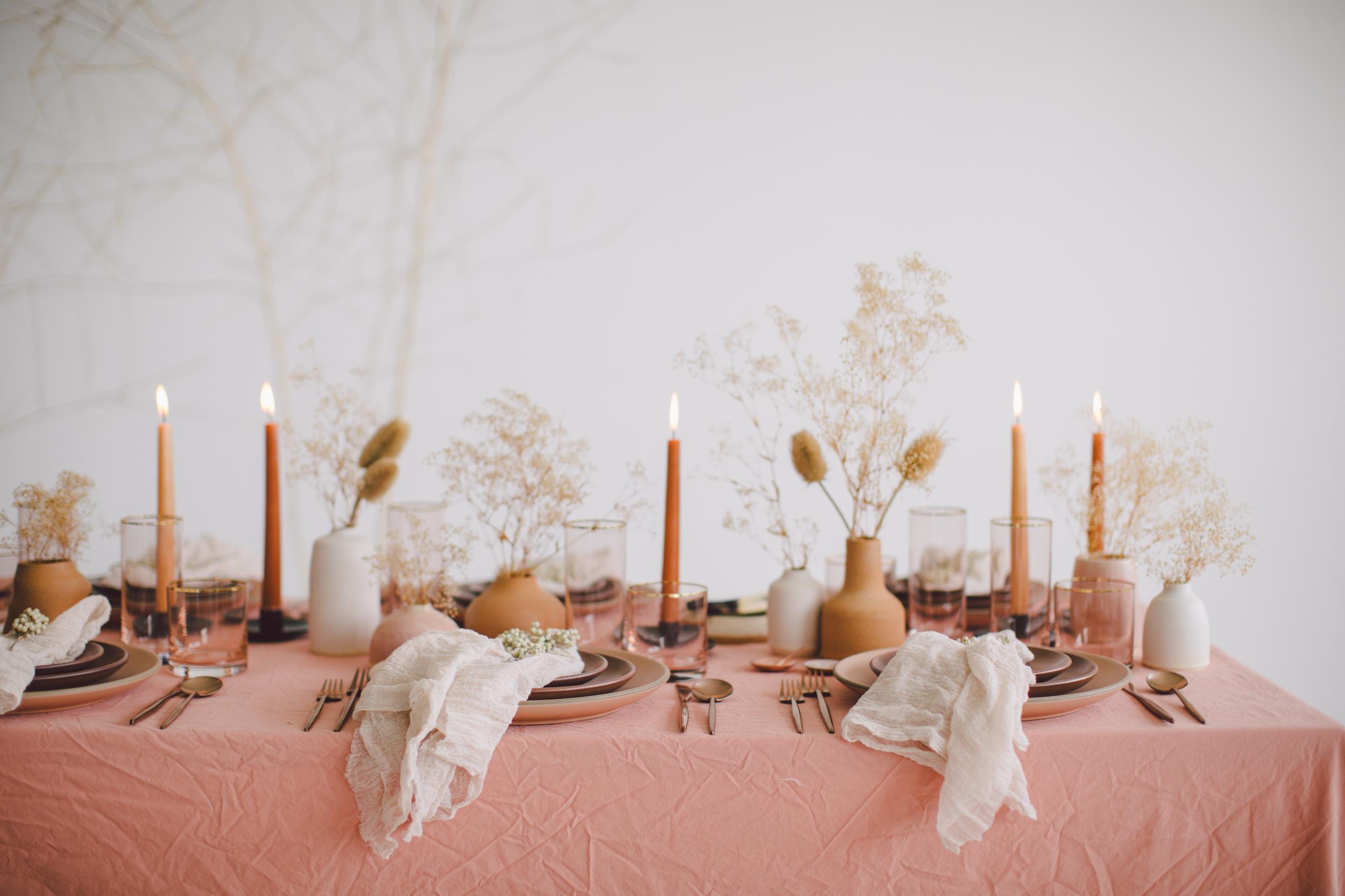 pink modern bohemian table palo santo linen