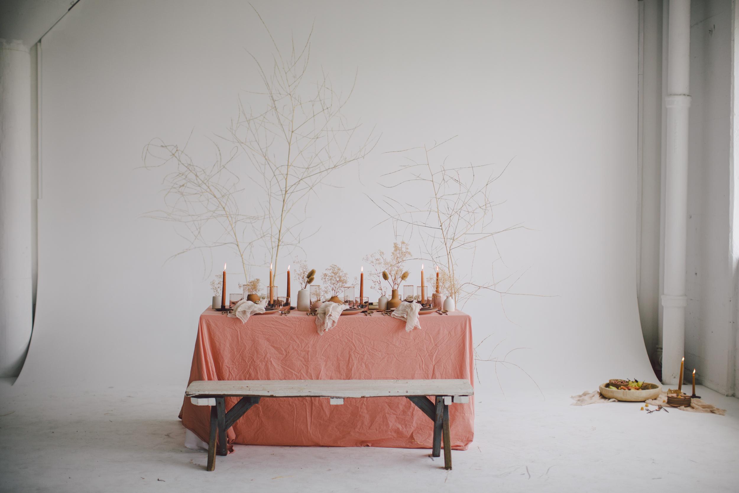 sienna table candles bohemian free spirited wedding inspiration